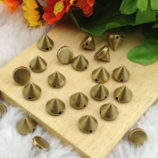 Adored Hand Sewing Bullet Cone Studs 100pcs 9*9mm BRASS Acrylic Flat Back Glue On Spikes Rock Bracelet Punk Belt Bag Conical Findings Supplies