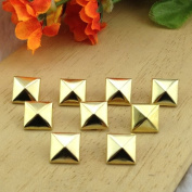 Come2Buy 100pc 9MM gold Pyramid Studs Metal Claw Beads Nailhead Punk Stud Rivet Spike - gold