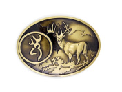 Bronze Buck Hunter Deer Hunting Bow Western Logo Belt Buckle