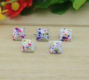 Come2buy 100pc 12mm Painted Colourful Spot Pyramid Studs Metal Claw Beads Nailhead Punk Stud Rivet Spike - White