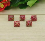 Come2buy 100pc 12mm Painted Colourful Line Pyramid Studs Metal Claw Beads Nailhead Punk Stud Rivet Spike - Red-2