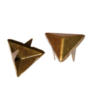 100pcs Antique Brass 15mm 2 or 3 Prongs Triangle Studs -Commonly Used for Leather or Denim Work
