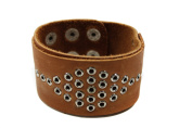 Brown Leather Cuff Bangle Bracelet with Stylish Metal Holes Design