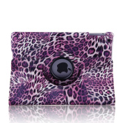 Topchances (Leopard Purple) 360 Degree Rotating Stand Smart Cover PU Leather Case for iPad Air iPad 5 Generation Display