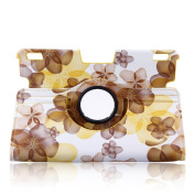 Topchances 360 Degrees Rotating Stand Stylish Lucky Flowers Case Case for Kindle Fire HDX 23cm with Smart Cover Wake/Sleep Function - Yellow