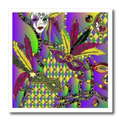 Lee Hiller Designs Holidays Mardi Gras - Mardi Gras Feather Masks Print - Iron on Heat Transfers