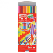 Useful Horse Band Twin Pencil Colour Set of 12 (24 Colour) Non Toxic with Little Shapener From Thailand