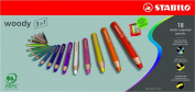 Stabilo Woody Crayons Set Of 18 W/Sharpener