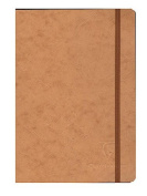 Clairefontaine Cloth-bound Notebooks 15cm . x 21cm . ruled, tan cover, elastic closure 96 sheets [PACK OF 3 ]