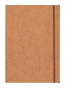 Clairefontaine Cloth-bound Notebooks 21cm . x 30cm . ruled, tan cover, elastic closure 96 sheets [PACK OF 2 ]