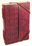 Handmade Leather Bound Journal - Embossed - Fair Trade
