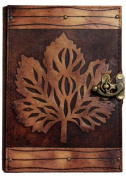 Old Leaf Refillable Leather Journal / Diary / Lock / Brown Notebook Handmade / Plain Paper
