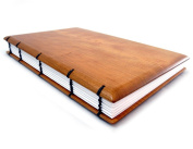 Hardwood Keepsake Journal, Register, or Guestbook with Coptic Binding, 15cm x 23cm , Lined Pages, Cherry Wood Version