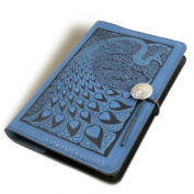 Blue Peacock Embossed Leather Writing Journal, 15cm x 23cm , refillable