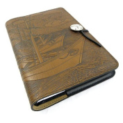 Van Gogh Boats Embossed Leather Writing Journal, 15cm x 23cm , refillable