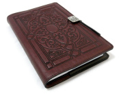 Florentine Embossed Leather Writing Journal, Wine Colour, 15cm x 23cm , refillable