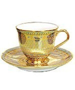 Benjarong coffee cup Yod-Tien pattern shiny skin. (circle shape) Product of Thailand