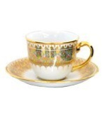 Coffee cup with saucer, Half patterned in Bua-sawan Product of Thailand