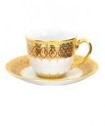 Coffee cup with saucer, Half patterned in Key-Yark Product of Thailand