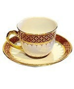 Coffee cup with saucer, Half patterned in Pi-Kul-Thong Product of Thailand