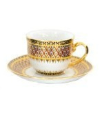 Coffee cup with saucer, Half patterned in variety of patterns Product of Thailand