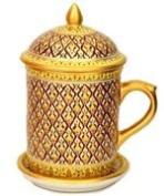 Benjarong Mug in Phum-Kaw-Bin pattern, Matt Glaze. premium Product of Thailand premium Product of Thailand