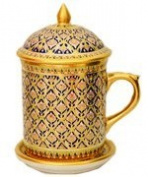 Benjarong Mug in Bua-Sa-Wan pattern, Matt Glaze premium Product of Thailand