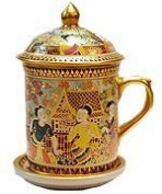 Benjarong mug in Loy-Kra-Thong festival pattern, matt glaze. premium Product of Thailand