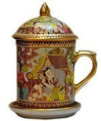 Benjarong Mug in Song-Kran festival pattern,matt glaze premium Product of Thailand