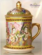 Benjarong Mug in Kin-Na-Ree pattern, matt glaze Product of Thailand