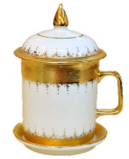 Thai Handcraft Benjarong Gold Embossed Mug, Complete with Lid and Saucer