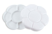14-well White Plastic Palette with Lid, Paint Tray Palette with Lid
