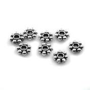 BEADNOVA-Tibetan Silver Daisy Spacer Metal Beads 4mm 5mm 6mm
