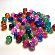"""Moxx 2-tone 8mm Round Crackle Lampwork Glass Beads Mixed Colours """"Rainbow"""""""