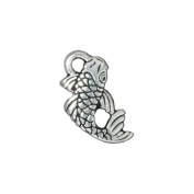 Fine Silver Plated Pewter Koi Japanese Fish Charm 17mm