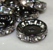 12mm Rhinestone Disc Beads Silver 20pcs