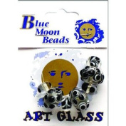 Blue Moon Beads Black Bubble/Swirl/Dot Cmb Glass Beads7P