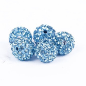 DUMAN 10pcs Turquoise 10mm Resin Iced Czech Disco Bead Balls Crystal Studded Shamballa Craft for Jewellery
