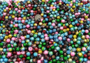 50 Pieces of Christmas Mix Metallic 8mm Round Beads in Variety of Colours, Red, Green, Blue, Yellows, Free Crystals, Second Item Shipping Is $1.50