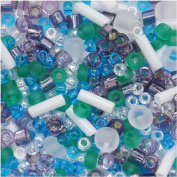 Toho Multi-Shape Glass Beads 'Fuji' White/Green/Blue/Purple Colour Mix 8 Gramme Tube