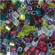Miyuki 4mm Glass Cube Beads Colour Mix Lavender Garden 10 Grammes