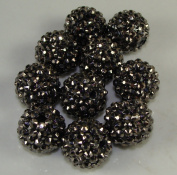 12mm Rhinestone Bead Gunmetal 20 Pieces