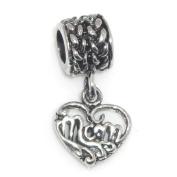 """Jewellery Monster Antique Finish """"Dangling Mom Heart"""" Charm Bead for Snake Chain Charm Bracelet"""