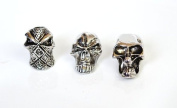 3 Metal Chrome Skull Bead Combo Pack For 550 Paracord Bracelets, Lanyards, & Other Projects