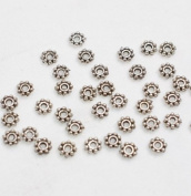 Silver Plated Lead-Free Pewter Daisy Spacer Beads 4mm