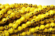 10 Yellow Howlite Skull Beads (Loose) - Day of the Dead