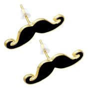 Importer520 Handlebar Moustache Stud Earrings, Set of 2pcs