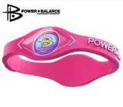 Power Balance Wristband Balance Bracelet 100% Surgical Grade Silicone (Pink/White lettering) size Medium