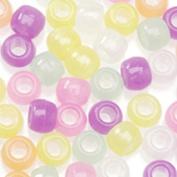 Pony Beads, Multi Glow in the Dark, 480pc Pkg
