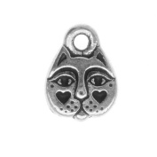 Fine Silver Plated Pewter 2-Side Cat Face Charm 11mm